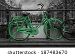 Green Bike Isolated On Black...