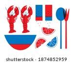 seafood  lemon  lobster cartoon ... | Shutterstock .eps vector #1874852959