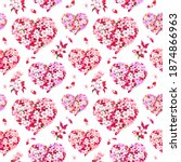 cherry blossom hearts with... | Shutterstock . vector #1874866963