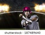 baseball player on a pink... | Shutterstock . vector #187489640
