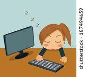 businesswoman sleeping in her... | Shutterstock .eps vector #187494659