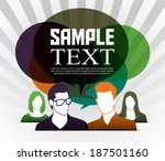 group of people with speech... | Shutterstock .eps vector #187501160