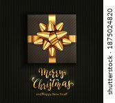 holiday gift box with golden... | Shutterstock . vector #1875024820