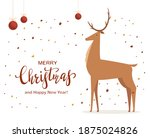 deer with balls and stars. text ... | Shutterstock . vector #1875024826