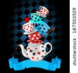 Stock vector wonderland mad tea party pyramid design 187503509