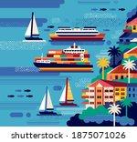 urban seaside landscape. vector ... | Shutterstock .eps vector #1875071026