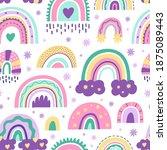 cute nursery rainbow pattern....   Shutterstock .eps vector #1875089443