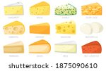 cartoon cheese types. cheese... | Shutterstock .eps vector #1875090610