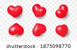 set of cute 3d realistic hearts ... | Shutterstock .eps vector #1875098770