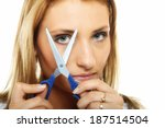 damaged dry hair splitting ends.... | Shutterstock . vector #187514504