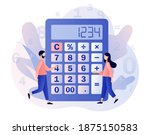 calculator concept. tiny people ... | Shutterstock .eps vector #1875150583