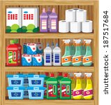 shelfs with household chemicals.... | Shutterstock . vector #187517684