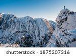 Adventurous Man Hiker On Top Of ...