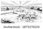 rural meadow. a village... | Shutterstock .eps vector #1875270223