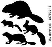 vector silhouette animal on white background - stock vector