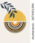 abstract sun moon leaves print... | Shutterstock .eps vector #1875451390