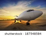 business plane at sunset   back ... | Shutterstock . vector #187548584