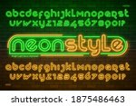 neon light alphabet  extra... | Shutterstock .eps vector #1875486463
