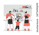 the family cooks a meal... | Shutterstock .eps vector #1875490699