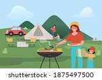 familly people are camping... | Shutterstock .eps vector #1875497500