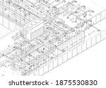 architectural wireframe bim... | Shutterstock .eps vector #1875530830