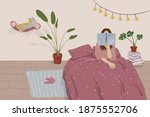 stay home  stay in bed reading  ... | Shutterstock .eps vector #1875552706
