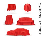 objects in red cloth drapery... | Shutterstock .eps vector #1875585256