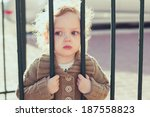 closeup portrait of sad little... | Shutterstock . vector #187558823