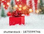 Banner. Christmas Red Gift Box...