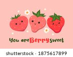 postcard with cute strawberries ... | Shutterstock .eps vector #1875617899