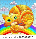 illustration in stained glass... | Shutterstock .eps vector #1875623920