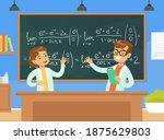 boy and girl mathematicians... | Shutterstock .eps vector #1875629803