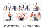 set of hairdressers and barbers ... | Shutterstock .eps vector #1875647803