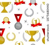 seamless awards pattern. cups ... | Shutterstock .eps vector #1875680440