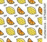 vector seamless fruit pattern.... | Shutterstock .eps vector #1875680569