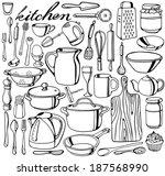 hand drawn kitchen tools... | Shutterstock .eps vector #187568990