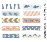 washi tape collection for kids. ... | Shutterstock .eps vector #1875696373