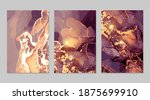 set of gold and purple flyers... | Shutterstock .eps vector #1875699910