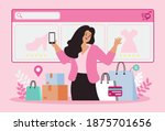 women happy with shopping on... | Shutterstock .eps vector #1875701656