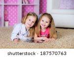 little girls playing on a...   Shutterstock . vector #187570763