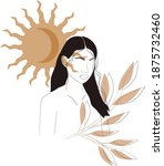 moon girl wallpaper  vector...   Shutterstock .eps vector #1875732460