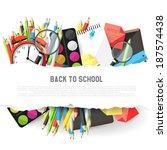 background with school supplies ... | Shutterstock .eps vector #187574438