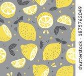 yellow background. lemon fruit... | Shutterstock .eps vector #1875762049