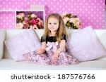 beautiful little girl  among... | Shutterstock . vector #187576766