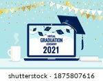 virtual graduation ceremony...   Shutterstock .eps vector #1875807616