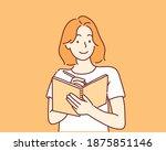 a woman writes a list of goals... | Shutterstock .eps vector #1875851146