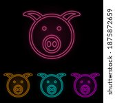 pig face color neon set. simple ...