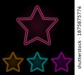five pointed star color neon...