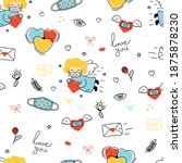 seamless pattern of love and... | Shutterstock .eps vector #1875878230