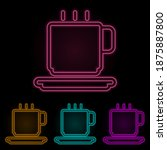 a cup of coffee color neon set. ...